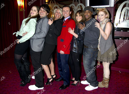 Stock Image of Former S Club 7 Member Jon Lee Joins the Cast of Jersey Boys and His Ex-band Members Welcome Him Into the Show Their First Reunion Since the Band Split Tina Barrett Paul Cattermole Jo O'meara Jon Lee Rachel Stevens Bradley Mcintosh & Hannah Spearritt *exclusive Photographs All Rounder Double Space Rate For Magazines*