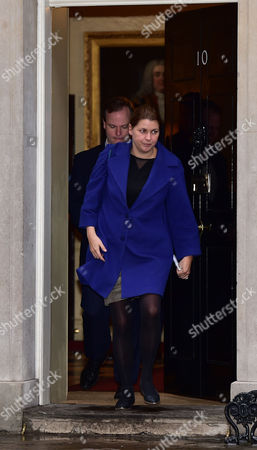 Scenes in Downing Street Westminster David Cameron's Director of Communications Craig Oliver and His Head of Operations Liz Sugg Leave Number 10