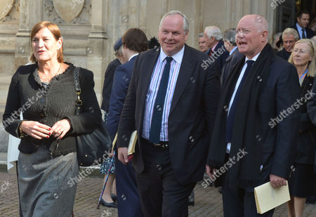 A Service to Celebrate the Life and Work of Sir David Frost at Westminster Abbey Anji Hunter and Adam Bolton with Howell James