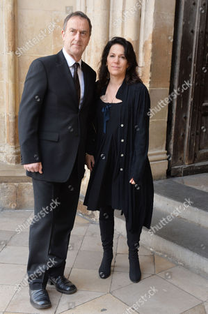 Stock Image of A Service to Celebrate the Life and Work of Sir David Frost at Westminster Abbey Angus Deayton with His Partner Lise Mayer