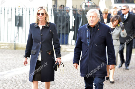 A Service to Celebrate the Life and Work of Sir David Frost at Westminster Abbey Terry O'neill with His Wife Laraine Ashton