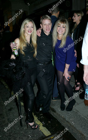 Stock Image of States of Reverie Private View at Scream Gallery Bruton Street Mayfair London Jodie Wood Her Husband Jamie Wood with His Mother Jo Wood