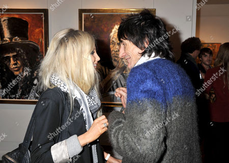 Symbolic Collection Presents Ronnie Wood - Faces Time and Places at the Gallery Cork St Ronnie Wood with His Girlfriend Nicola Sargent