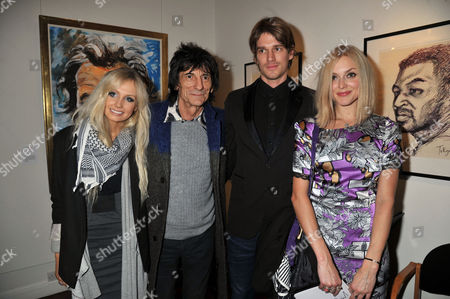 Stock Picture of Symbolic Collection Presents Ronnie Wood - Faces Time and Places at the Gallery Cork St Nicola Sargent Ronnie Wood with His Son Jesse Wood and Fearne Cotton