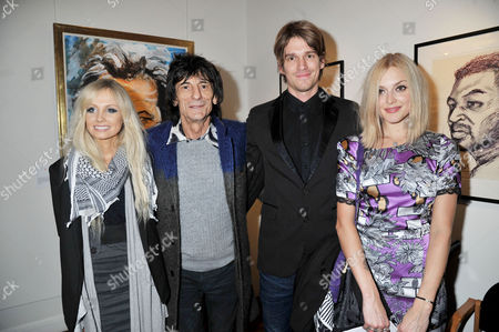 Symbolic Collection Presents Ronnie Wood - Faces Time and Places at the Gallery Cork St Nicola Sargent Ronnie Wood with His Son Jesse Wood and Fearne Cotton