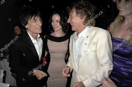 the Glamour Awards After Party Berkeley Square Gardens Ron Woods with Sally Humphries and Rod Stewart