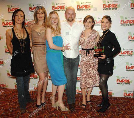 the Sony Ericsson Empire Awards 2006 at the Hilton London Metropole Best Horror Film the Descent Alex Reid Saskia Mulder Neil Marshall Nora-jane Noone Shauna Macdonald and Myanna Buring