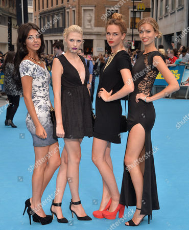 Stock Picture of 'We're the Millers' Uk Film Premiere Outside Arrivals at the Odeon West End Uk & Ireland Next Top Model Contestants - Naomi Pelkiewicz Sophie Ellson and Emily Garner