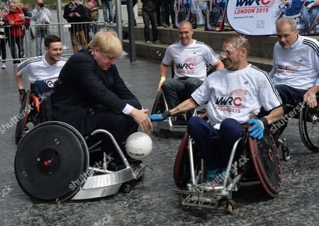 Boris Johnson the Mayor of London Officiates at the Announcement That London is to Host the Inaugural World Wheelchair Rugby Challenge the Mayor Takes Part in A Demonstration of Wheelchair Rugby with International Stars Kylie Grimes Bulbul Hussain Chris Ryan and Mike Kerr He Will Also Be Joined by England and Harlequins Star Mike Brown the World Wheelchair Rugby Challenge Will Take Place in October 2015 in the Copper Box Arena at Queen Elizabeth Olympic Park