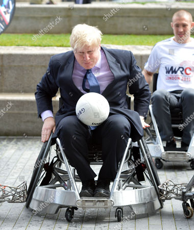 Stock Picture of Boris Johnson the Mayor of London Officiates at the Announcement That London is to Host the Inaugural World Wheelchair Rugby Challenge the Mayor Takes Part in A Demonstration of Wheelchair Rugby with International Stars Kylie Grimes Bulbul Hussain Chris Ryan and Mike Kerr He Will Also Be Joined by England and Harlequins Star Mike Brown the World Wheelchair Rugby Challenge Will Take Place in October 2015 in the Copper Box Arena at Queen Elizabeth Olympic Park