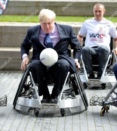 Stock Photo of Boris Johnson the Mayor of London Officiates at the Announcement That London is to Host the Inaugural World Wheelchair Rugby Challenge the Mayor Takes Part in A Demonstration of Wheelchair Rugby with International Stars Kylie Grimes Bulbul Hussain Chris Ryan and Mike Kerr He Will Also Be Joined by England and Harlequins Star Mike Brown the World Wheelchair Rugby Challenge Will Take Place in October 2015 in the Copper Box Arena at Queen Elizabeth Olympic Park