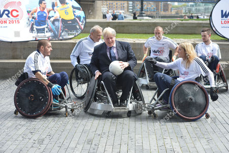 Stock Image of Boris Johnson the Mayor of London Officiates at the Announcement That London is to Host the Inaugural World Wheelchair Rugby Challenge the Mayor Takes Part in A Demonstration of Wheelchair Rugby with International Stars Kylie Grimes Bulbul Hussain Chris Ryan and Mike Kerr He Will Also Be Joined by England and Harlequins Star Mike Brown the World Wheelchair Rugby Challenge Will Take Place in October 2015 in the Copper Box Arena at Queen Elizabeth Olympic Park