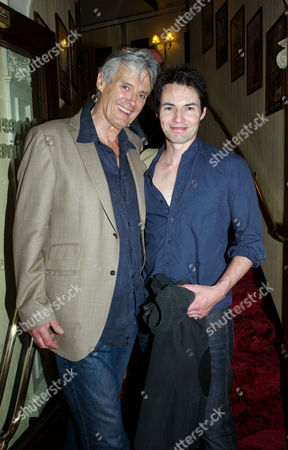 Yes Prime Minister Returns to the West End Opening at Apollo Theatre Shaftesbury Avenue London Simon Williams with His Son Tam Williams