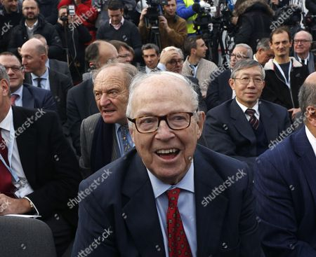 Stock Photo of Chairman of the Chernobyl Shelter Fund Hans Blix attends the ceremony of completing of Chernobyl's New Safe Confinement covering the 4th block of Chernobyl Nuclear power plant