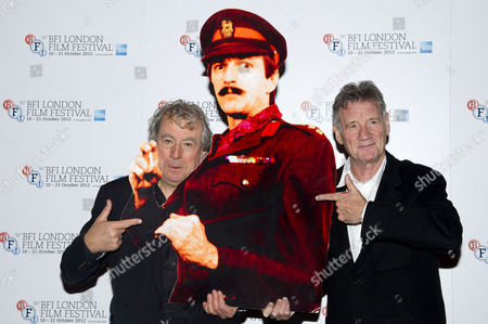 'A Liar's Autobiography' Photocall at the Empire Leicester Square During the 56th Bfi London Film Festival Terry Jones and Michael Palin with A Cardboard Cut out of Graham Chapman