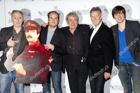 'A Liar's Autobiography' Photocall at the Empire Leicester Square During the 56th Bfi London Film Festival Jeff Simpson Bill Jones Terry Jones Michael Palin and Ben Timlett with A Cardboard Cut out of Graham Chapman