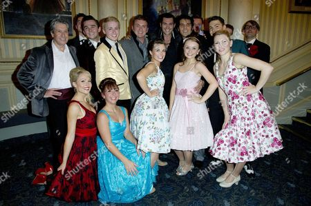 'Dreamboats and Petticoats' Press Night at Wyndham's Theatre and After Party at the Waldorf Hotel Shane Richie and Elvis Impersonator Steve Michaels Poses with the Cast with David Cardy Susannah Allman Sam Attwater Samantha Dorrance David Ribi Claire Mcgarahan Emily O'keeffe Hannah Frederik