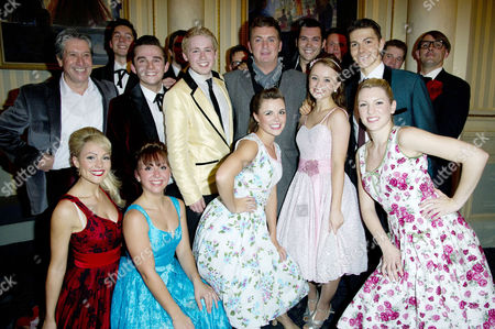 'Dreamboats and Petticoats' Press Night at Wyndham's Theatre and After Party at the Waldorf Hotel Shane Richie Poses with the Cast with David Cardy Susannah Allman Sam Attwater Samantha Dorrance David Ribi Claire Mcgarahan Emily O'keeffe Hannah Frederik