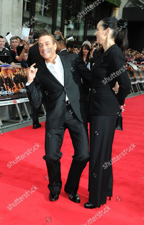 Stock Picture of 'Expendables 2' Premiere at the Empire Leicester Square Jean-claude Van Damme with His Wife Gladys Portugues