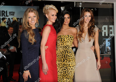 Stock Image of 'Girl with the Dragon Tattoo' World Premiere at the Odeon Leicester Square Fanfair - Roberta Howett Aimee Kearsley Anara Atanes and Jessica Martin
