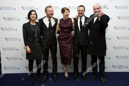 'Good Vibrations' Screening at the Odeon Westend During the 56th Bfi London Film Festival Director Lisa Barros D'sa Richard Dormer Jodie Whittaker Director Glenn Leyburn and Terri Hooley (showing Off His Glass Eye)
