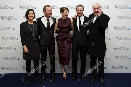Stock Image of 'Good Vibrations' Screening at the Odeon Westend During the 56th Bfi London Film Festival Director Lisa Barros D'sa Richard Dormer Jodie Whittaker Director Glenn Leyburn and Terri Hooley (showing Off His Glass Eye)