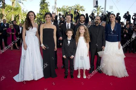 'Le Passe' Photocall at the Palais Des Festivals During the 66th Cannes Film Festival Pauline Burlet Sabrina Ouazani Tahar Rahim Director Asghar Farhadi Berenice Bejo Jeanne Jestin and Elyes Aguis