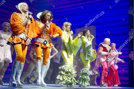'Mamma Mia' Special Gala Children in Need Performance at the Novello Theatre and After Party at the London Transport Museum Bbc Radio 2 Presenters Anneka Rice Penny Smith Vanessa Feltz Joins the Cast Kim Ismay Sally Ann Triplett and Joanna Monro On Stage For A Curtain Call