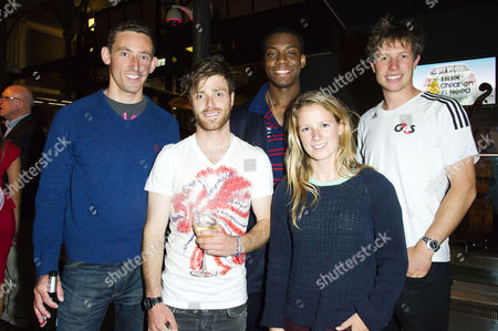 Stock Image of 'Mamma Mia' Special Gala Children in Need Performance at the Novello Theatre and After Party at the London Transport Museum David Florence Zac Purchase Lutalo Muhammad Hannah Mills and Stuart Bithell