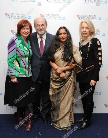 'Midnight's Children' Screening at the Odeon Westend During the 56th Bfi London Film Festival Clare Stewart (lff Director) Salman Rushdie Deepa Mehta (director) and Amanda Nevill (director Bfi)