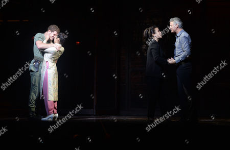 Stock Picture of 'Miss Saigon' 25th Anniversary at the Prince Edward Theatre Soho Current and Original Lead Cast - Alistair Brammer and Eva Noblezada with Simon Bowman and Lea Salonga
