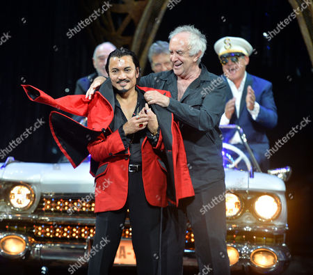 'Miss Saigon' 25th Anniversary at the Prince Edward Theatre Soho Writers Alain Boublil and Claude-michel Schonberg Appear On Stage with Simon Bowman and Original and Current Engineer Jon Jon Briones and Jonathan Pryce