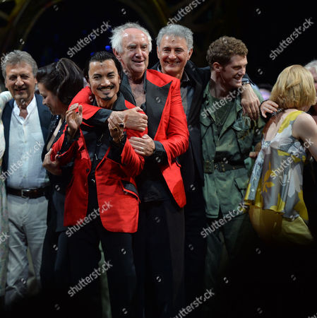 'Miss Saigon' 25th Anniversary at the Prince Edward Theatre Soho Original and Current Engineer Jon Jon Briones and Jonathan Pryce and Billy Alistair Brammer and Simon Bowman