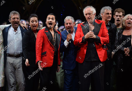 'Miss Saigon' 25th Anniversary at the Prince Edward Theatre Soho Original and Current Engineer Jon Jon Briones and Jonathan Pryce and Billy Alistair Brammer and Simon Bowman with Producer Cameron Mackintosh and Lea Salonga