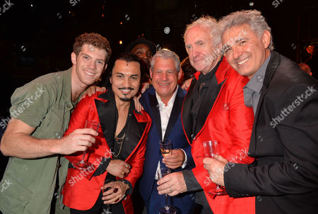 Stock Photo of 'Miss Saigon' 25th Anniversary at the Prince Edward Theatre Soho Cameron Mackintosh with the Original and Current Engineer Jon Jon Briones and Jonathan Pryce and Billy Alistair Brammer and Simon Bowman