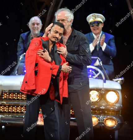 Stock Picture of 'Miss Saigon' 25th Anniversary at the Prince Edward Theatre Soho Writers Alain Boublil and Claude-michel Schonberg Appear On Stage with Simon Bowman and Original and Current Engineer Jon Jon Briones and Jonathan Pryce