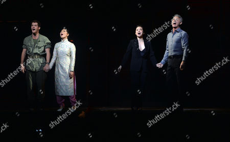 'Miss Saigon' 25th Anniversary at the Prince Edward Theatre Soho Current and Original Lead Cast - Alistair Brammer and Eva Noblezada with Simon Bowman and Lea Salonga