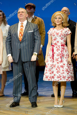 'One Man Two Guvnors' Cast Change Press Night at the Theatre Royal Haymarket Curtain Call - Gerard Horan and Hannah Spearritt