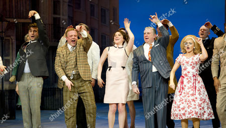 'One Man Two Guvnors' Cast Change Press Night at the Theatre Royal Haymarket Curtain Call - Ben Mansfield Owain Arthur Gemma Whelan Gerard Horan and Hannah Spearritt