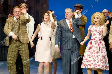 'One Man Two Guvnors' Cast Change Press Night at the Theatre Royal Haymarket Curtain Call - Owain Arthur Gemma Whelan Gerard Horan and Hannah Spearritt
