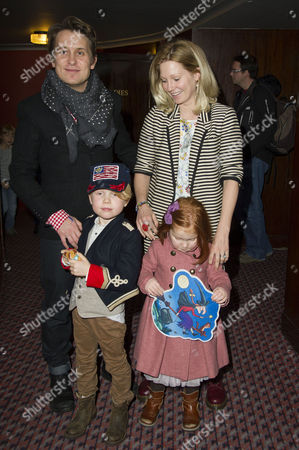 Stock Photo of 'Room On the Broom' Special Vip Performance at the Lyric Theatre Mark Owen with His Wife Emma Ferguson and Children Elwood and Willow