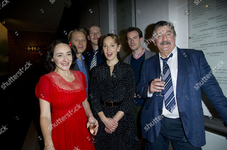 'The Dark Earth and the Light Sky' Press Night at the Almeida Theatre Islington Cast - Pandora Colin Shaun Dooley Dan Poole Hattie Morahan Pip Carter and Ifan Huw Dafydd