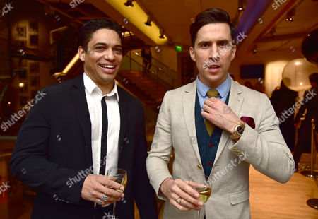 Stock Photo of Vip Gala Night For the Northern Ballets Rendition of 'The Great Gatsby' at Sadlers Wells Theatre Islington London Russell Kane & Piers Linney