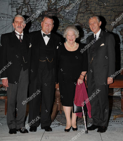 Winston Churchill's Last Surviving Daughter Lady Mary Soames Meets the Cast of 'Three Days in May' at the Trafalgar Studios the Play Depicts Her Father As Prime Minister in May 1940 and the Decisions He Faced Warren Clarke Who Plays Winston Churchill Jeremy Clyde and Robert Demeger Pose with Lady Mary Soames