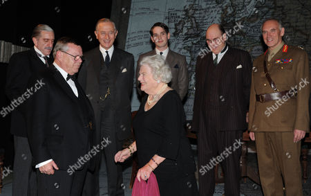 Stock Image of Winston Churchill's Last Surviving Daughter Lady Mary Soames Meets the Cast of 'Three Days in May' at the Trafalgar Studios the Play Depicts Her Father As Prime Minister in May 1940 and the Decisions He Faced Warren Clarke Who Plays Winston Churchill Meets Lady Mary Soames