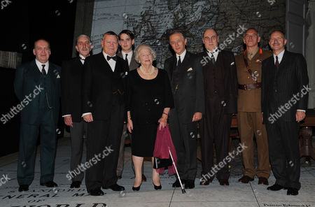 Winston Churchill's Last Surviving Daughter Lady Mary Soames Meets the Cast of 'Three Days in May' at the Trafalgar Studios the Play Depicts Her Father As Prime Minister in May 1940 and the Decisions He Faced Warren Clarke Who Plays Winston Churchill Jeremy Clyde and Robert Demeger with the Cast Pose with Lady Mary Soames
