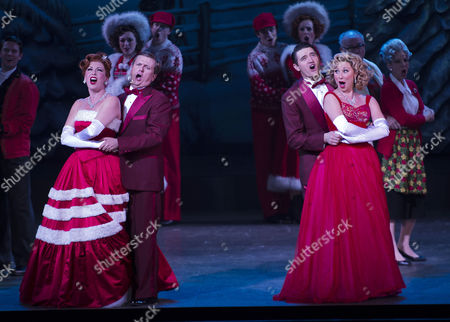Stock Photo of 'White Christmas' Press Night and Afterparty at the Dominion Theatre and Bloomsbury Ball Room Curtain Call - Tom Chambers Aled Jones Louise Bowden and Rachel Stanley