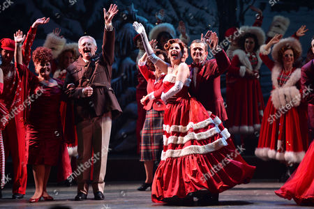 'White Christmas' Press Night and Afterparty at the Dominion Theatre and Bloomsbury Ball Room Curtain Call - Tom Chambers Aled Jones Louise Bowden and Rachel Stanley