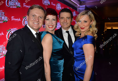 Stock Picture of 'White Christmas' Press Night and Afterparty at the Dominion Theatre and Bloomsbury Ball Room Tom Chambers and Aled Jones with Co-stars Louise Bowden and Rachel Stanley
