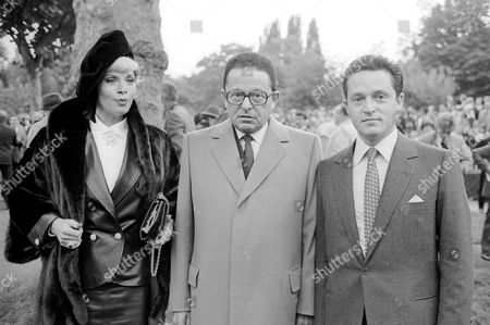 Stock Picture of Prix De L'arc De Triomphe at Longchamp Racecourse Paris France Daniel Wildenstein with His Wife Sylvia and Son Guy Wildenstein